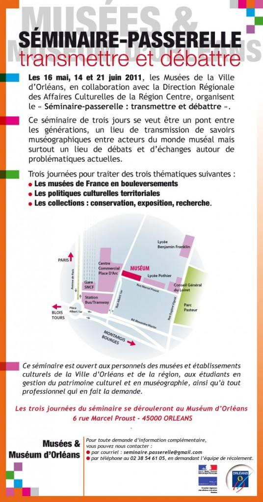 Séminaire-Passerelle : transmettre et débattre (Orléans, 16 mai, 14 et 21 juin 2011)